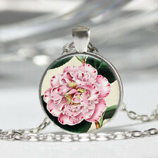 Pink Flower photo Tibet silver dome Glass Cabochon Necklace chain Pendant #401