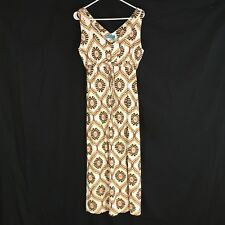 FRESH PRODUCE MAXI SUMMER DRESS SMALL White Pink Beige Sleeveless Beach