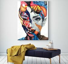 XL LEINWAND BILD 100x80x5 Audrey Hepburn Loft Design Canvas Gemälde POP-ART IKEA