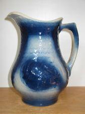 """Salt Glazed Pitcher Fishscale & Wild Roses Blue White 10"""" Large Stoneware"""