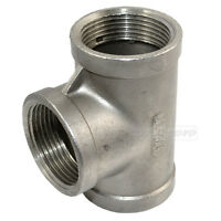 "Tee 1 1/4"" 1.25"" 3 way Female 304 Stainless Steel Pipe fitting threaded SS"