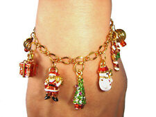Xmas Gift Merry Christmas Gold Plated Charm Bracelet-colorful