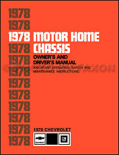 1978 Chevolet Motor Home Chassis Owners Manual Chevy P30 Motorhome Owners Guide