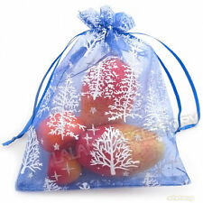 20pcs Bulk Drawstring Christmas Tree Organza Jewelry Pouch Gift Bag 13x18cm L