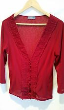Jacqui-e top 10 12 S Red Frilled Cardigan Long Sleeves Office Work Corporate