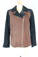 Dennis Basso Leather Jacket Coat Black Brown Leopard 2 Pocket Gold Zip Front K