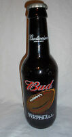 """15"""" BUDWEISER Man Cave Bar Beer Bottle Embossed Bud Because It's Football Glass"""