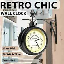 Train Station Wall Mount Clock Grand Central 2 Sided Dial Garden Black Petro
