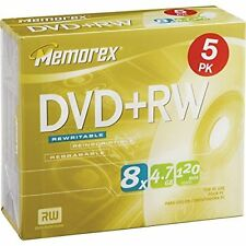 25PK Memorex DVD+RW 4.7GB Rewritable Disc: DVD Player PC Compatible Data Back Up