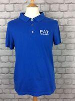 EA7 EMPORIO ARMANI MENS UK M BLUE SHORT SLEEVE POLO SHIRT DESIGNER CASUAL SPORTS
