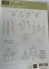Stampin Up Cute Christmas Unmounted Rubber Stamps Stocking Trees Snowman