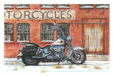 HARLEY DAVIDSON CHRISTMAS CARDS #X815 SITTING IN FRONT MOTORCYCLE FACTORY (10)