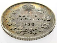 1920 Canada Five Cents Small Silver Canadian Circulated George V Coin M868