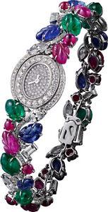 Tutti Frutti Carved Women Wrist Watch 925 Sterling Silver High Handmade Fine CZ