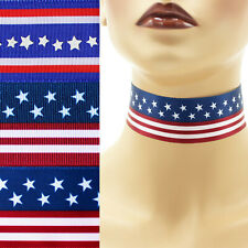 """Patriotic Choker 1.5"""" custom necklace Independence Day 4th of July America USA"""