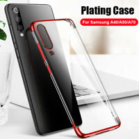 For Samsung Galaxy A40 A70 A50 Luxury Plating Silicone Hybrid Clear Case Cover