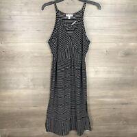 Monteau Women's Size Medium Sleeveless Midi Dress Black White V-Neck NEW