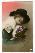 1920's Vintage Lovely Lady w/ WHITE FOX FUR tinted antique photo pcard