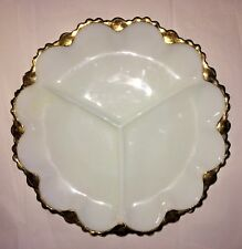 """Vintage Serving Dish White with Gold Trim 3 Sections Milk Glass 9 3/4"""" Wide"""
