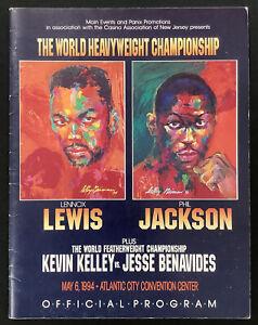 Lennox Lewis Official Fight Program 5/6/94 Atlantic City Boxing HOF Neiman Art