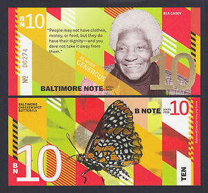 USA 2016 Local Currency BALTIMORE NOTE Ten ($10) Bea Gaddy UNC