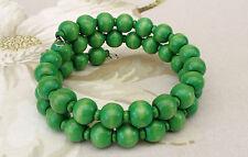 Pretty Apple Green Wooden Ball Bead Memory Wire Cuff Bracelet Bangle 2 Rows