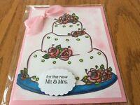 Wedding Card The Cake  Pink Roses Leaves Top The White Wedding Cake Handmade