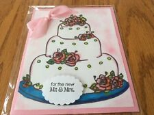 Wedding Card The Cake  Pink Roses Leaves Top The White Wedding Cake Handmade