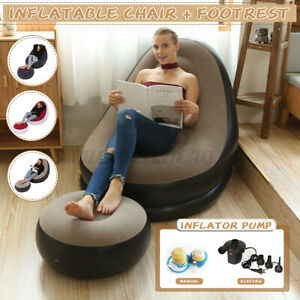 Large Inflatable Lounge Chair Ottoman Set Portable Sofa Footrest Inflator Pump