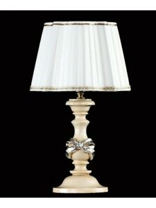 Bedside Lamp Wooden Leaf Silver With Lampshade Tp 195-LP1-07