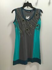 NWT Teal and gray peacock feather desig Leopards & Roses dress women's size S