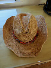 NEW Wallaroo Catalina Cowboy 100% Raffia Western Hat, Tan w/Multi-Color Band