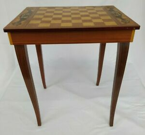 Musical Chess Board Table Wooden with Inlay Pattern Vintage Occasional Table