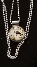 Postal Stamp Bird Snap, Silver Snap Pendant & 26 inch Chain