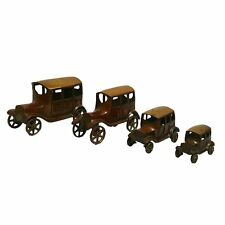 Antiquated Brass Décor Toy Vintage 4 Vehicle Sets Of British Passenger Car IC 02