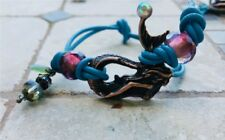 WOMENS CUSTOM WOVEN BEADED BRACELET  ON  LEATHER  CHORD Mermaid Connector