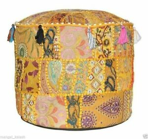 Indien Floor Ottoman Pouffe Cover Vintage Embroidered Patchwork