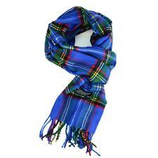 Royal Stewart Mens Winter 100% CASHMERE Scotland Blue Check Plaid Tartan Scarf