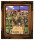 Monet Monets Garden in Vetheuil Wood Framed Canvas Print Repro 11x14