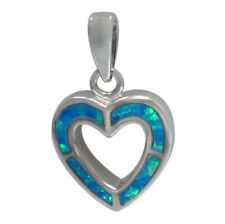 Rhodium plated on sterling silver 925 heart emulated opal pendant necklace
