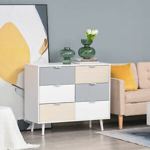 6-Drawer Colourful Chest Of Drawers Storage Cabinet Dresser w/ Wood Legs Bedroom