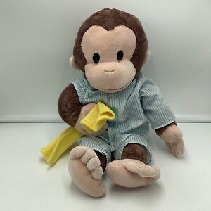 "GUND Curious George 16"" Striped Pajamas Yellow Blanket Stuffed Animal Soft Toy"
