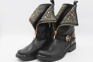 LucyToni Biker Boots with Stud Embellished and Front Zip -Best Seller