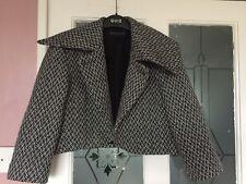 M&S LIMITED WOMENS DESIGNER BLACK WHITE WOOL MIX CROP COAT JACKET SZ 10-12 UK