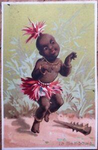 Black / Native Dancing, 'La Bamboula' 1880 Color Litho Victorian Trade Card