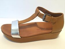 $229 sz 7.5 eu 38 Gentle Souls Janelle  Leather Open Toe Wedge T-strap Sandals
