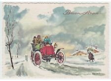 Negroni Christmas 60's Classic Car Red Street Snowed Card Vintage