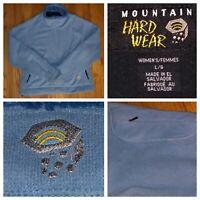 Mountain Hardwear Women's 1/2 Zip Light Blue Fleece Pullover Sweater Size Large