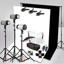 750W Photo Studio Flash Lighting Kit White Black Backdrop Background Stand UK