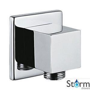 Storm Showers Square Chrome Shower Hose Outlet Elbow 8M